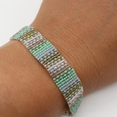 Green, Brown and Clear Beaded Bracelet Pattern