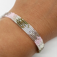 Pink brown Green and Silver Beaded Bracelet Pattern