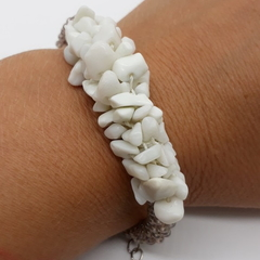 Fawn Bead and White Ceramic Kumihimo Bracelet Boho Beach Gemstone
