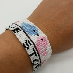 Love Story Bead Bracelet Love Birds Pink Blue Heart