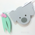 Koala Garland with gum leaves, gumnuts. Baby shower, first birthday Australiana