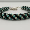 Kumihimo Bead  Bracelet Black Turquoise Cream