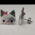 White Cat Beaded Stud Earrings Grey Pink Bow