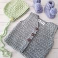 Little Vest - Hand Knitted - Size 00 - 100% Australian Merino Wool