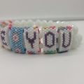 Love You Hidden Message Bead Bracelet Heart Flower Valentines