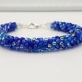 Blue Kumihimo Beaded Bracelet Boho
