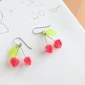 Cherry Drop Earrrings (Red) - Handmade Kawaii Fruits