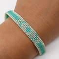 Turquoise White  Green and Silver Beaded Bracelet Pattern