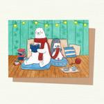 Polar Bear & Penguin in a room, Valentines Card, Love Card, Anniversary Card