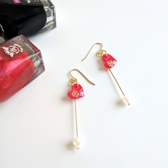 Valentines Heart x Golden Rose Drop Earrings (Red & Gold) Nickel-free