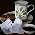 Set of 2 Cotton Reusable Tea Bags, Loose Leaf Tea Bags, Blue Ribbon and Glass