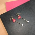 Valentines Love Heart & Gold Rose Earrings (Nickel-free hypoallergenic)