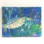 Original painting of swimming turtle. Oil paint and ink on canvas.