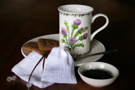 Set of 2 Cotton Reusable Tea Bags, Loose Leaf Tea Bags, Brown Ribbon and Glass