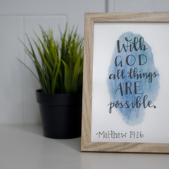 Framed Watercolour Bible Verse FREE POSTAGE Matthew 19:26- Blue Background