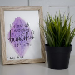 Watercolour Bible Verse FREE POSTAGE Ecclesiastes 3:11- Pink/Purple Background