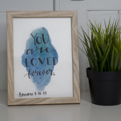 Watercolour Bible Verse FREE POSTAGE Romans 8:38-39- Blue Background