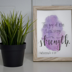 Framed Watercolour Bible Verse FREE POSTAGE Nehemiah 8:10 Pink/Purple Background