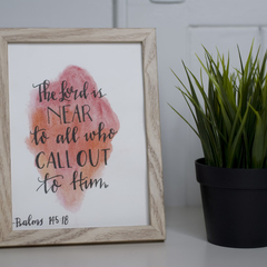 Framed Watercolour Bible Verse FREE POSTAGE Psalms 145:18 Red Background