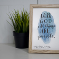 Watercolour Bible Verse FREE POSTAGE Matthew 19:26