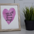 Framed Watercolour Love Sign FREE POSTAGE
