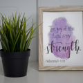 Framed Watercolour Bible Verse FREE POSTAGE Nehemiah 8:10