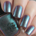 "Nail polish - ""Opposite Order"" A brown base with turquoise blue to purple shift"