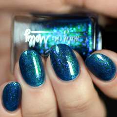 "Nail polish - ""Midnight Mermaid"" A dark blue with green shimmer and blue iridesc"