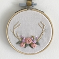 Boho antler and flower crown embroidered hoop art wall hanging