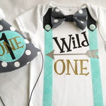 Baby Boys First Birthday Wild One Theme Onesie and Party Hat