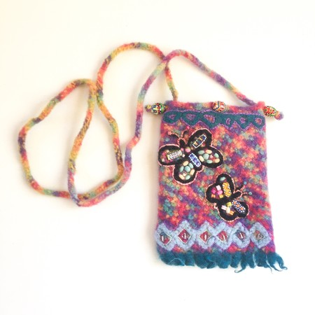 Colourful embellished felt crossbody phone pouch/ small bag. Butterfly design.