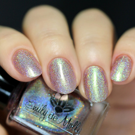 "Nail polish - ""Vexed"" A light brown holo with green to pink shimmer"