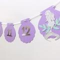 First Birthday Mermaid Banner. NB-12 Month photo garland. Shells and mermaids.