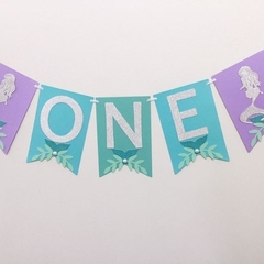 Mermaid ONE Banner. Birthday party, baby shower, first birthday, under the sea.