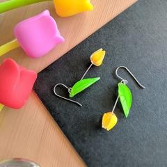 Tulip Drop Earrings (Yellow) - Handmade Kawaii Flowers