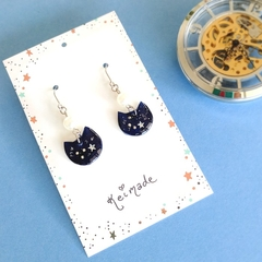 Night Sky Cat Drop Earrings (Dark Navy Blue & Silver) - Kawaii Sky