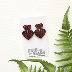 Red Heart Glitter Statement Acrylic Earrings