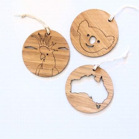3 Australia Bamboo Souvenir Australiana Koala Australia Map Cockatoo