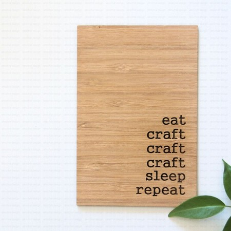 Eat Craft Repeat Bamboo Card Art Decor