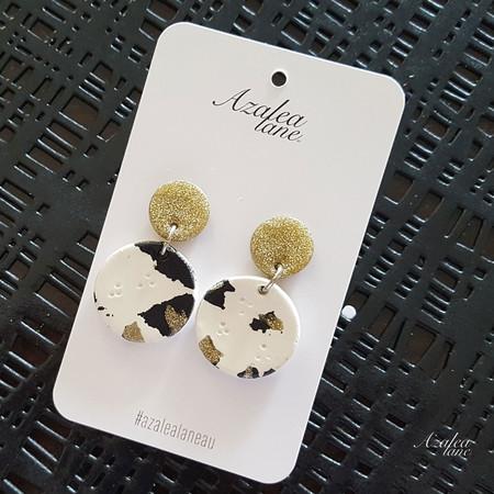 Leopard print small dangle w/ gold glitter top