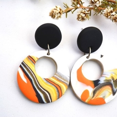 Polymer Clay Earrings Marbled Retro Design Orange Dangle Earrings Blackwood Lily