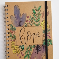 Floral Notebook || Hope, blank notebook, handpainted journal, watercolour