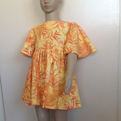 Summer Sun Dress in Orange Fern Print Cotton Size 3