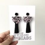 Black Tassel Earrings Chunky Black and Pink Glitter