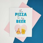 Funny Cute Beer Pizza Valentines Card