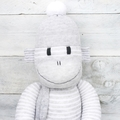 'Edward' the Sock Monkey - grey and white pinstripes - *MADE TO ORDER*