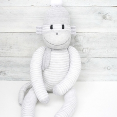 'Edward' the Sock Monkey - grey and white pinstripes - *READY TO POST*