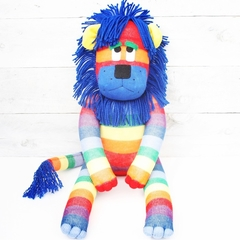 'Lester' the Rainbow Sock Lion - *READY TO POST*