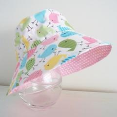 Girls summer hat in spring birdies fabric
