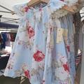 Girls Blue Floral Flutter Sleeve Dress Size 1 & 3